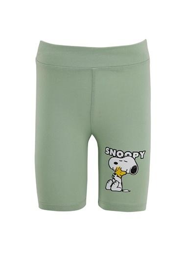 DeFacto Kız Çocuk Snoopy Lisanslı Biker Tayt Turkuaz
